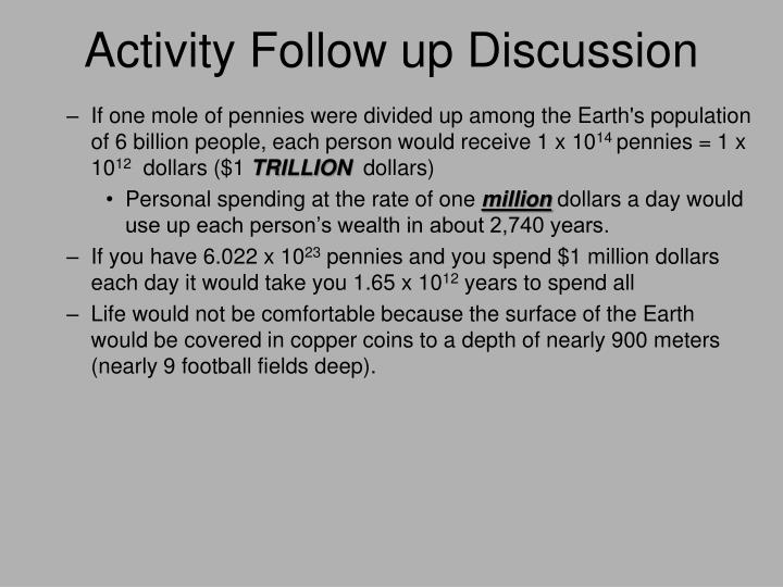 Activity Follow up Discussion