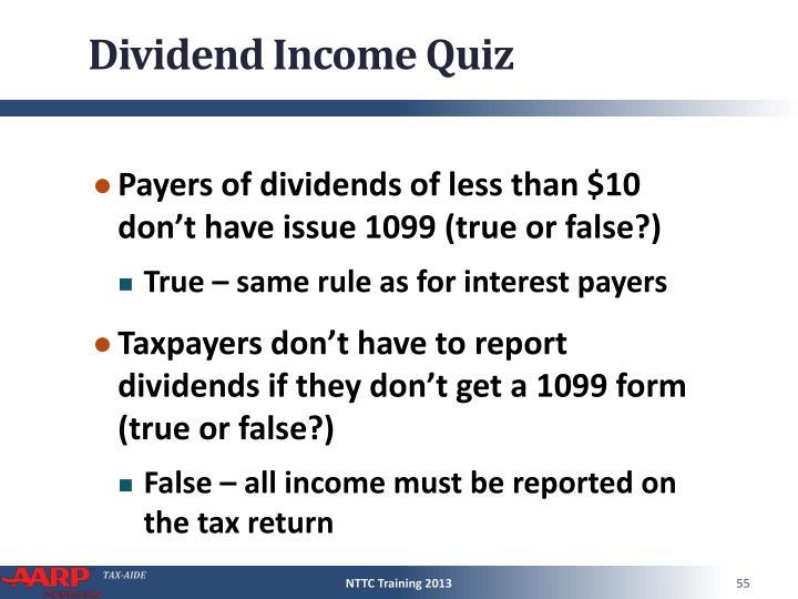 Dividend Income Quiz