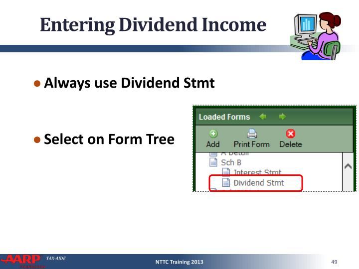 Entering Dividend Income