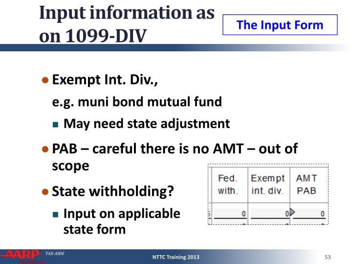 Input information as