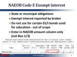 naeob code e exempt interest