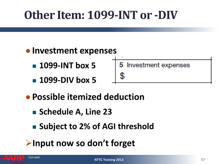 Other Item: 1099-INT or -DIV