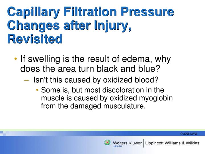 Capillary Filtration Pressure Changes after Injury, Revisited