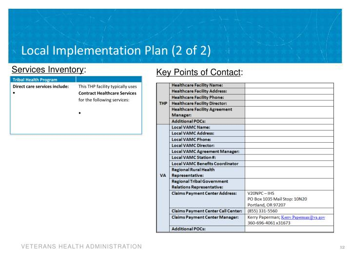Local Implementation Plan (2 of 2)