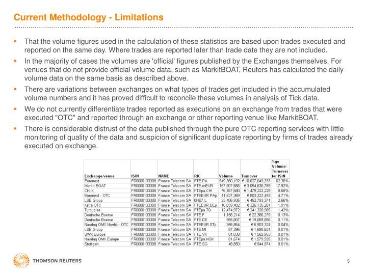 Current Methodology - Limitations