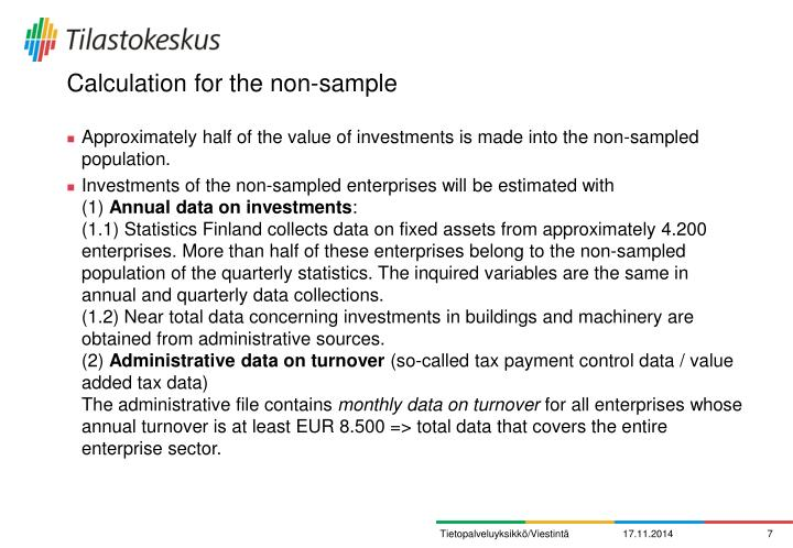 Calculation for the non-sample