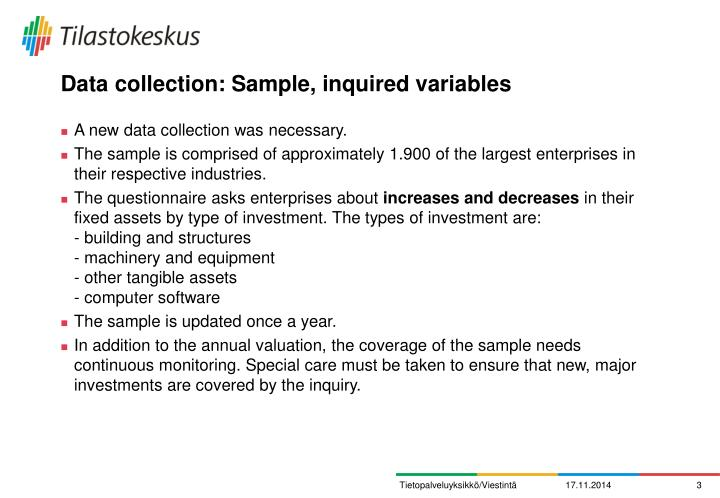 Data collection: Sample, inquired variables