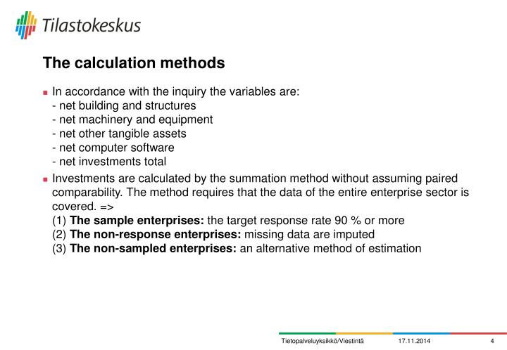 The calculation methods