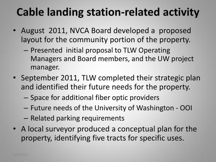 Cable landing station-related activity
