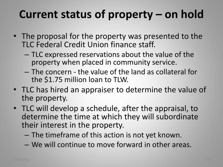 Current status of property – on hold