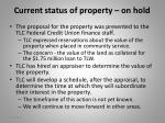 current status of property on hold