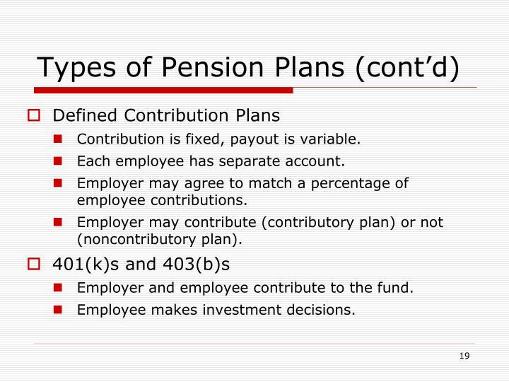 Types of Pension Plans (cont'd)