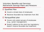 voluntary benefits and services retirement savings plans and pensions