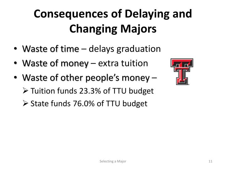 Consequences of Delaying and Changing Majors