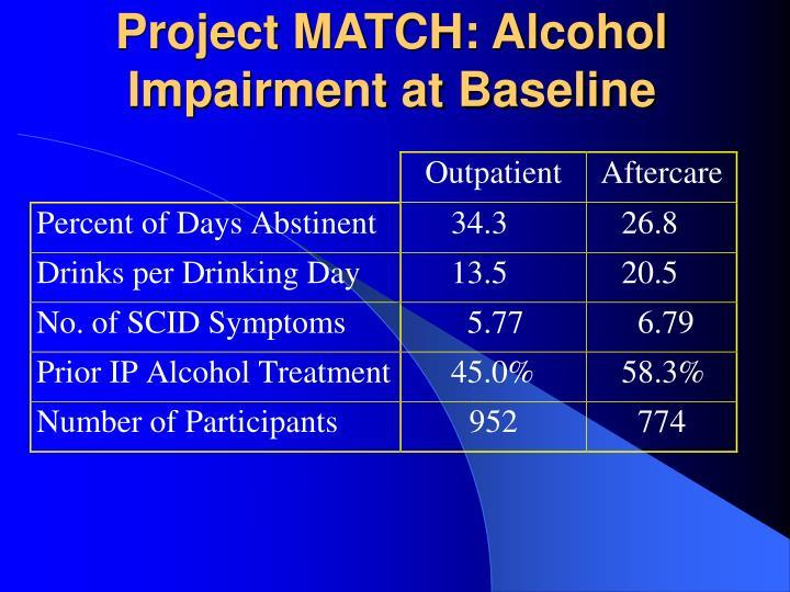 Project MATCH: Alcohol Impairment at Baseline