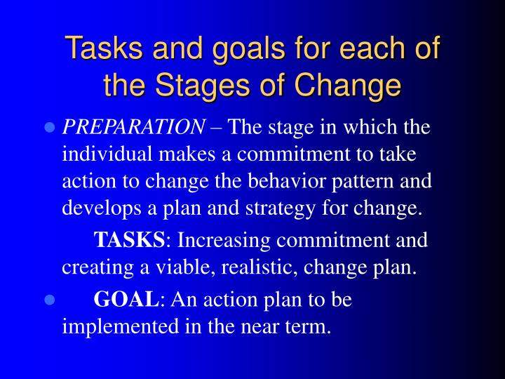 Tasks and goals for each of the Stages of Change