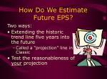 how do we estimate future eps