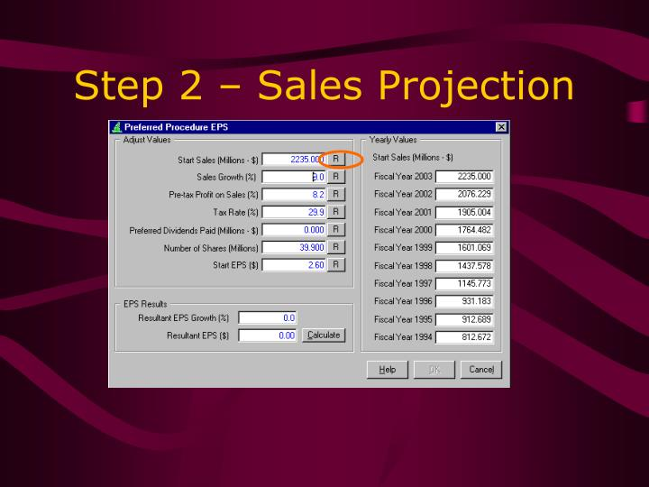 Step 2 – Sales Projection