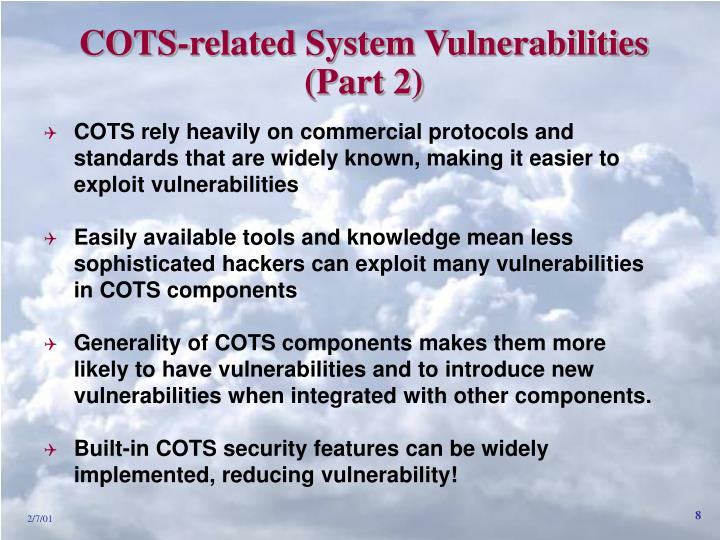COTS-related System Vulnerabilities
