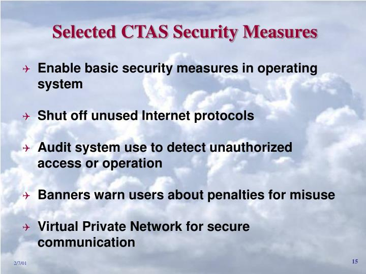 Selected CTAS Security Measures
