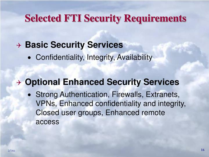 Selected FTI Security Requirements