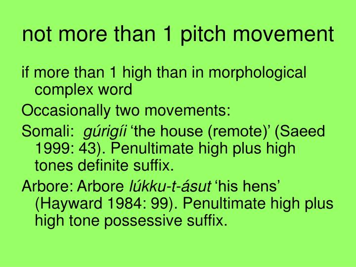 not more than 1 pitch movement