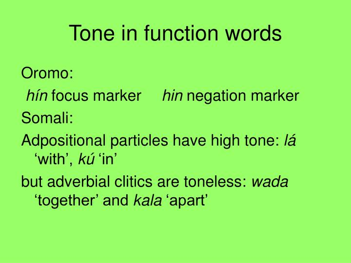Tone in function words