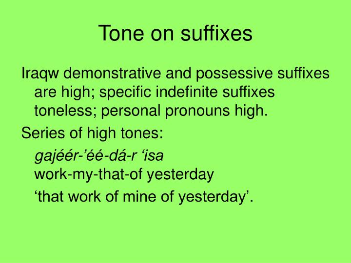 Tone on suffixes