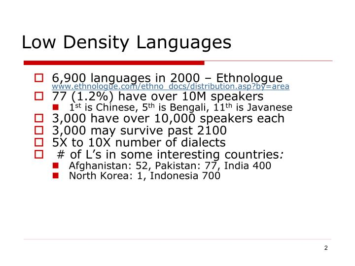 Low density languages
