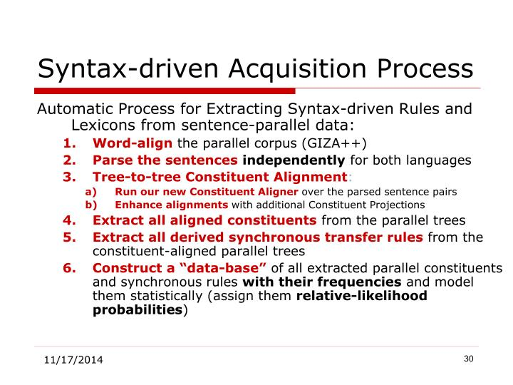 Syntax-driven Acquisition Process