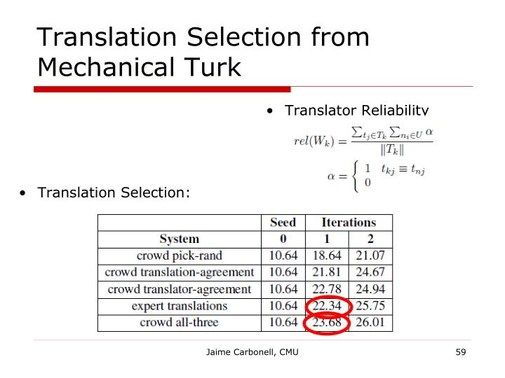 Translation Selection from Mechanical Turk