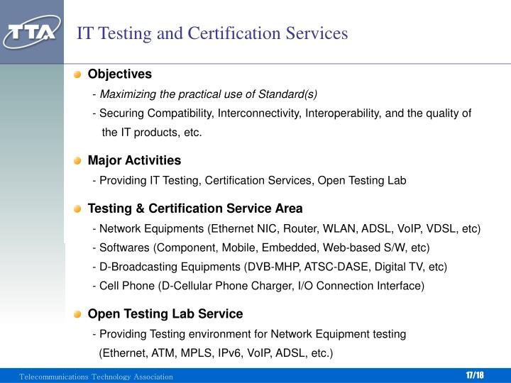 IT Testing and Certification Services