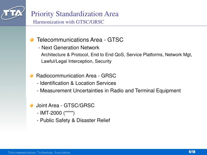 Priority Standardization Area
