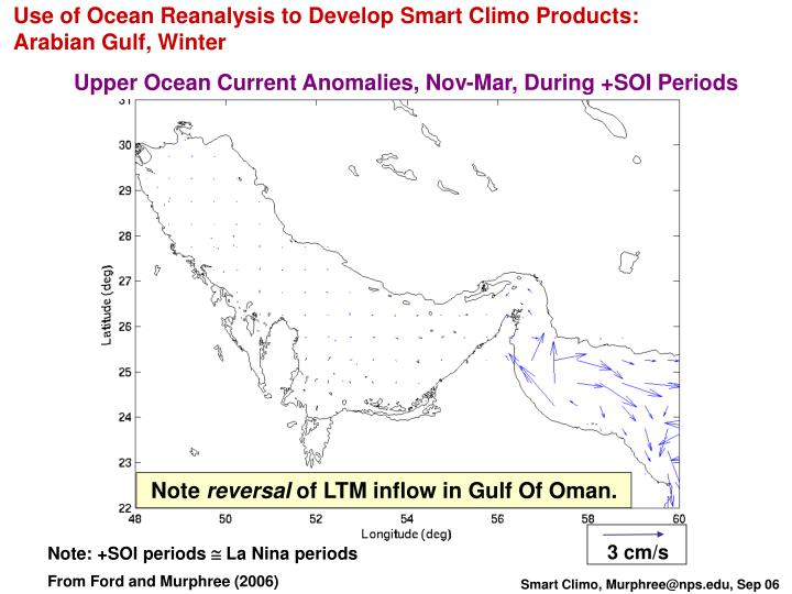 Use of Ocean Reanalysis to Develop Smart Climo Products: