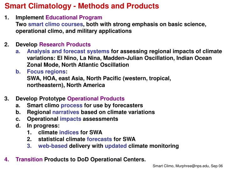 Smart Climatology - Methods and Products