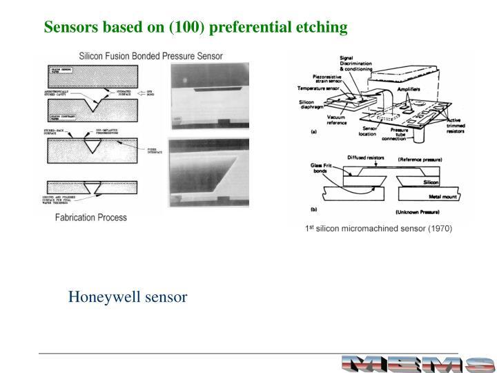 Sensors based on (100) preferential etching
