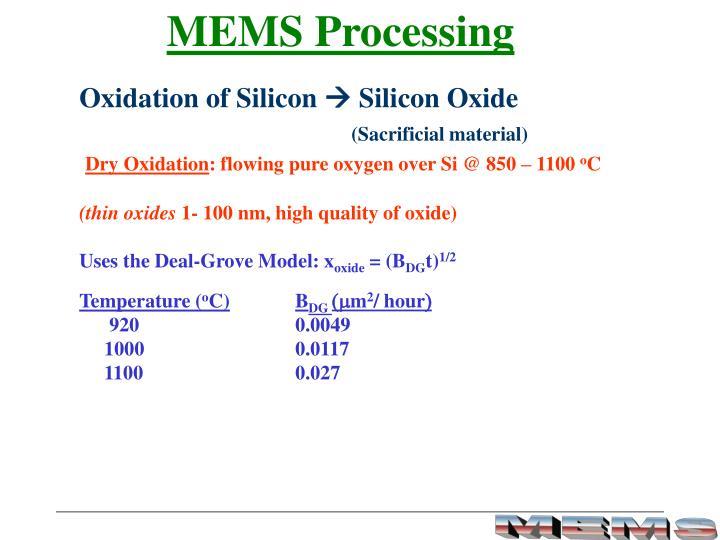 MEMS Processing