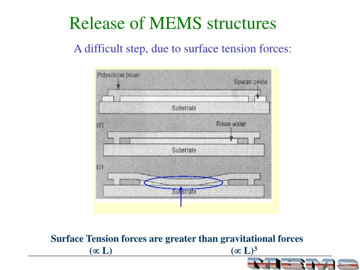 Release of MEMS structures