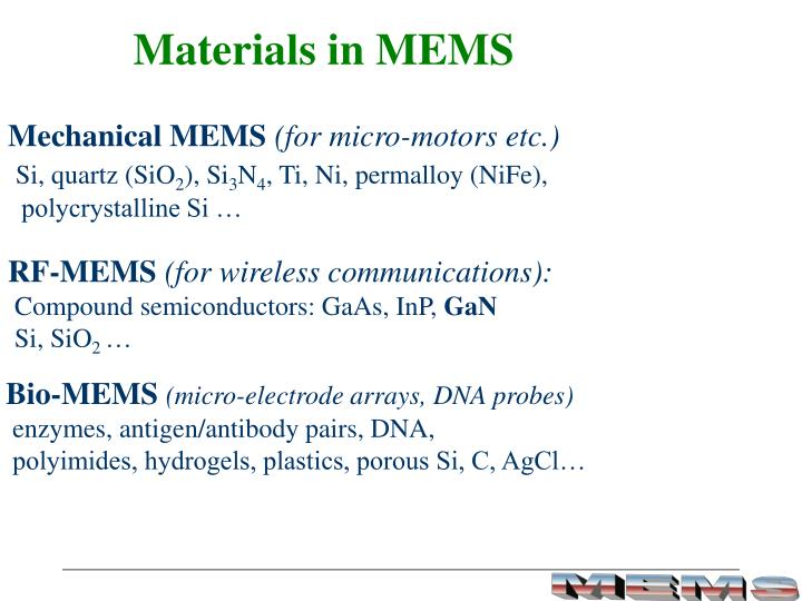 Materials in MEMS