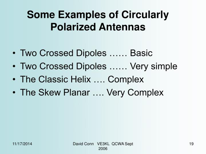 Some Examples of Circularly Polarized