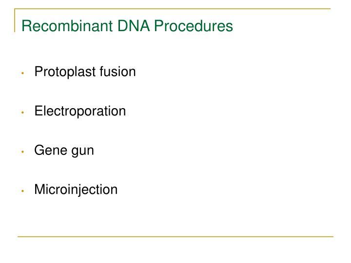 Recombinant DNA Procedures