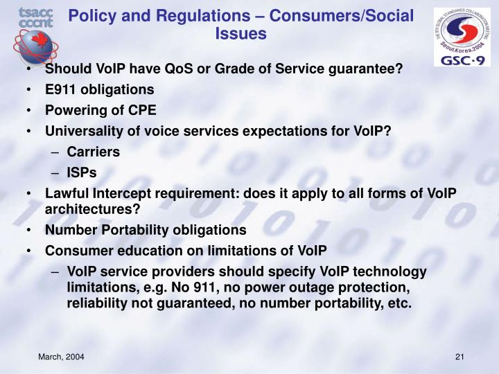 Policy and Regulations – Consumers/Social Issues