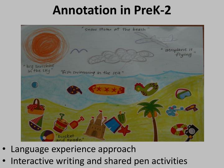 Annotation in PreK-2