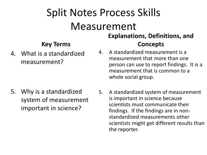 Split Notes Process Skills