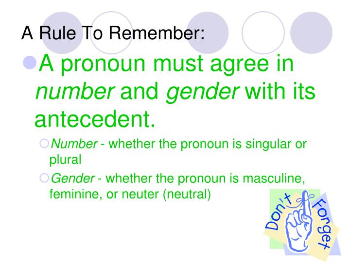 A Rule To Remember:
