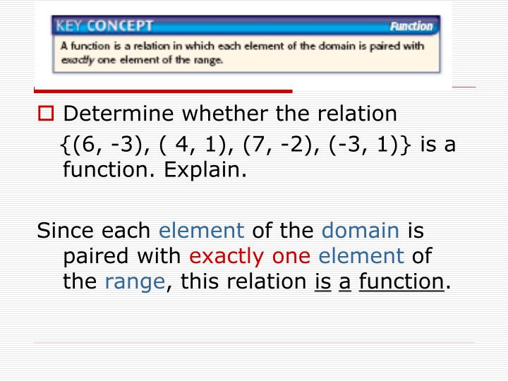 Determine whether the relation