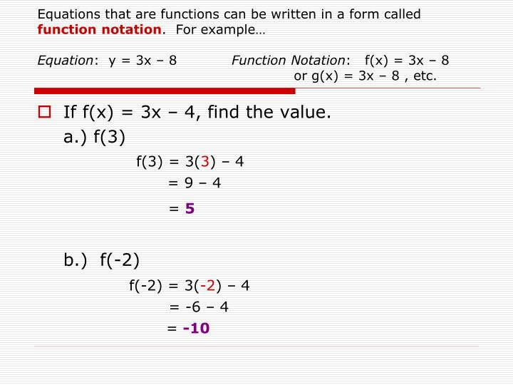 Equations that are functions can be written in a form called