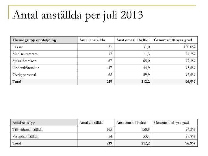 Antal anställda per juli 2013