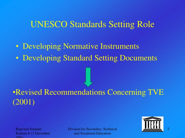 Unesco standards setting role
