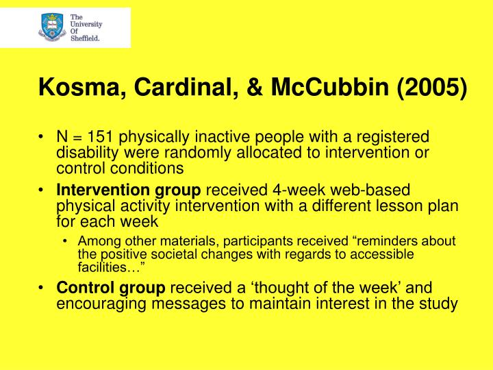 Kosma, Cardinal, & McCubbin (2005)